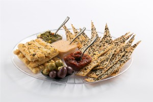 tortiya and chees sticks with 3 kinds of dips and olives