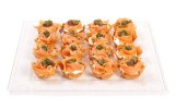 phyllo shells with cream cheese, salmon, chives and capers