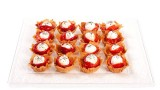 phyllo shells with goat cheese, roasted peppers and sea salt